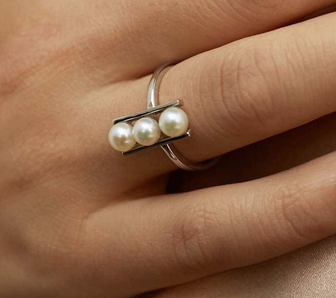 Adjustable Freshwater Pearl Ring |Tiny Pearl Ring|Balance Pearl rings||Dainty