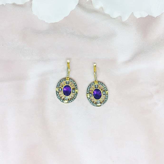 Amethyst & Diamond Sterling Silver Earring