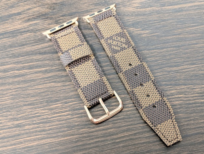 Altered LV watch band, Repurposed Louis Vuitton Ebene watch band, LV watch band,