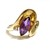 Amethyst ring in 14k yellow gold with accent diamond,  vintage limited custom