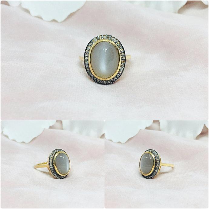 Cat's Eye & Diamond Sterling Silver Ring