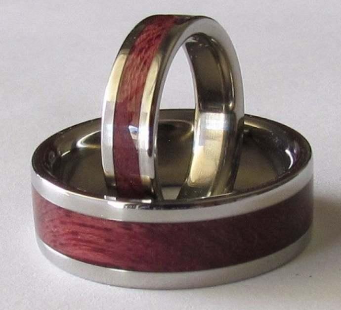 Titanium His & Hers Purpleheart Wedding Bands