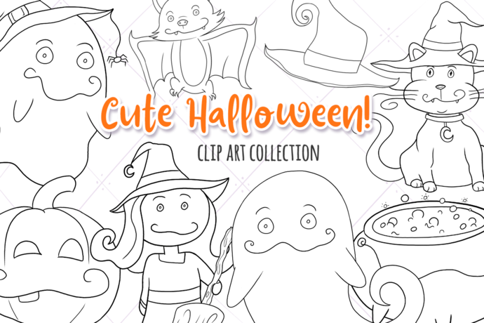 Cute Halloween Witches and Ghosts Digital Stamps