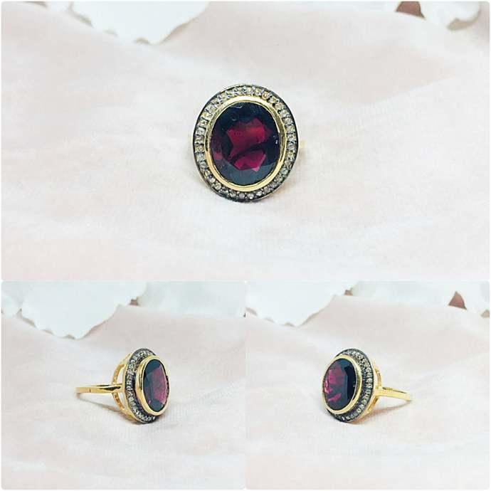 Garnet & Diamond Sterling Silver Ring