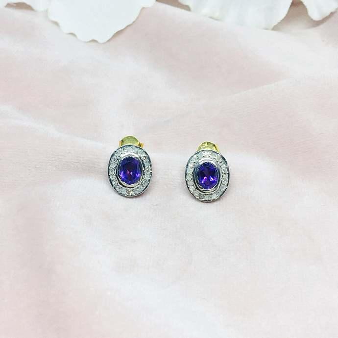Amethyst & Diamond Oxidised Sterling Silver Stud Earring