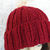 Hand Knitted Women's Red Two Style Ribbed Winter Hat With Cream Faux Fur Pom Pom