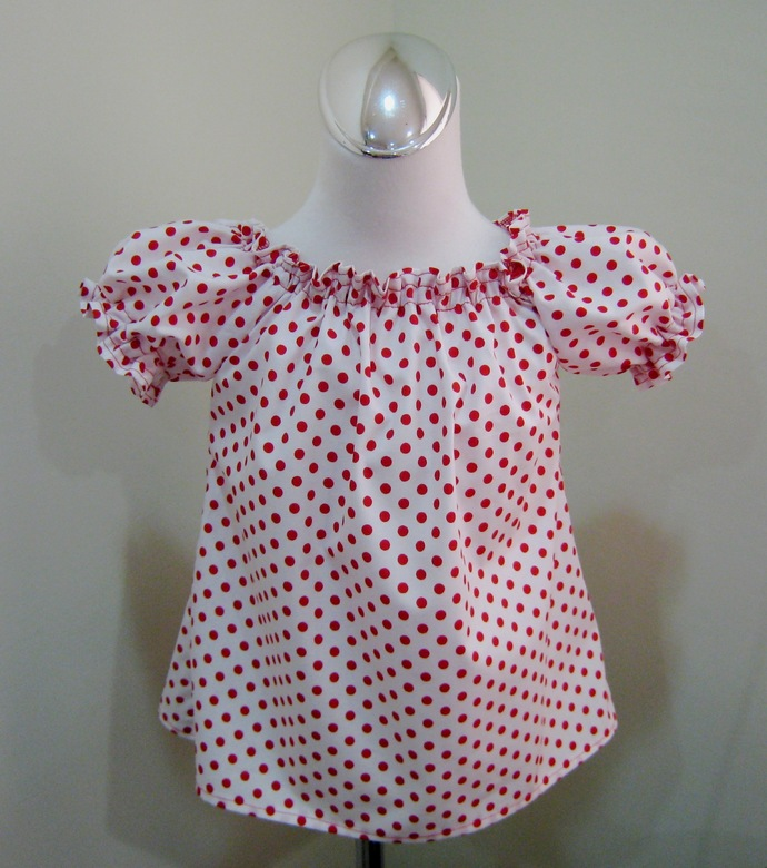 White With Red Polka Dots Peasant Top 12M To 7, Red Polka Dots Top, Red and