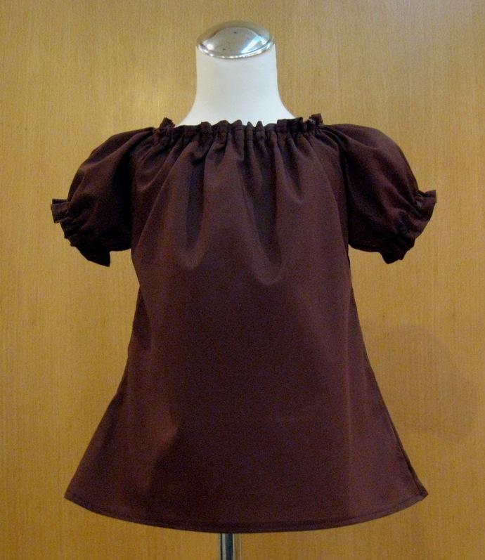 Brown Peasant Top 12M To 7, Brown Top, Shirt Sleeve Girl Brown Top, Peasant Top,