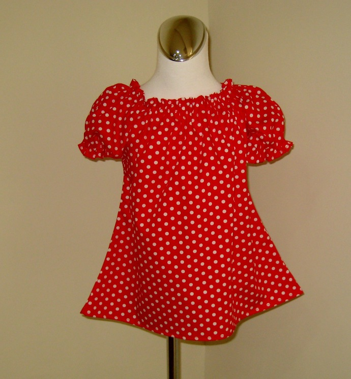 Red Polka Dots Peasant Top 12M To 7, Red And White Girl Top, Infant Blouse,