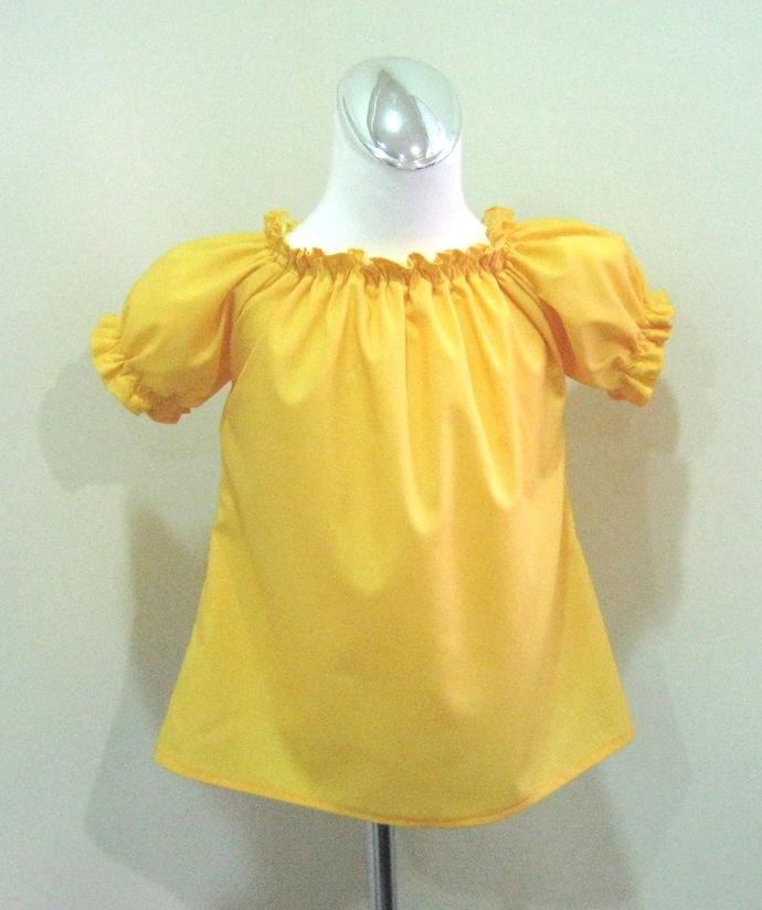 Yellow Top, Yellow Blouse, Toddler Yellow Top, Girl Yellow Peasant Top, Girl