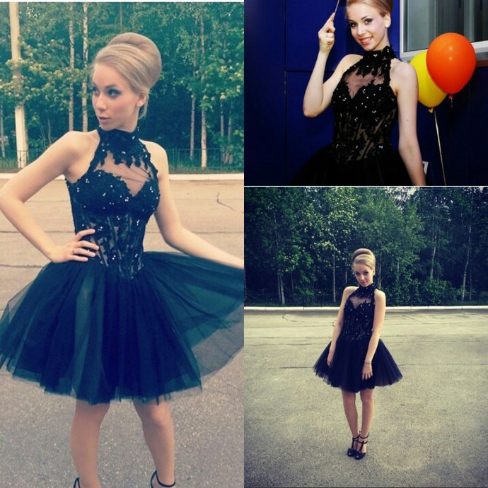 Elegant Halter Tulle Short Appliques Homecoming Dress, Short Prom Gowns