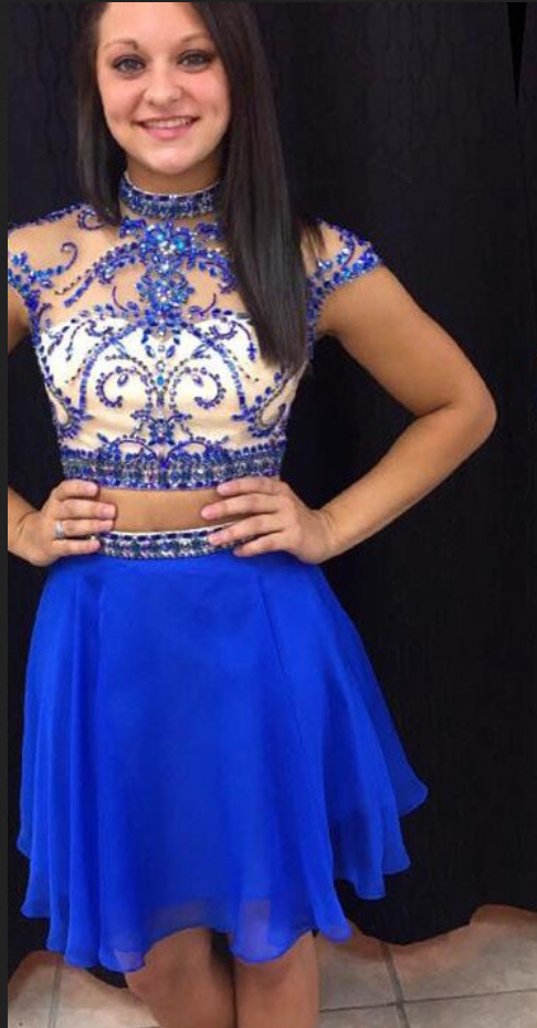 Cap Sleeve Royal Blue Tulle Beaded Homecoming Dress, High neck Two Piece Prom