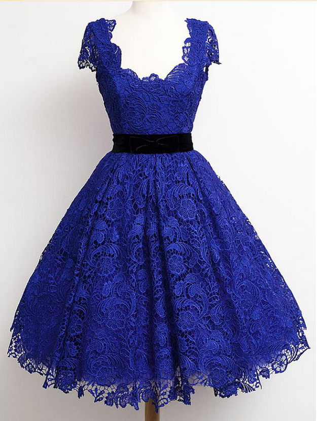 Dark Blue Short Sleeve Lace Homecoming Dress, Elegant Graduation Dress