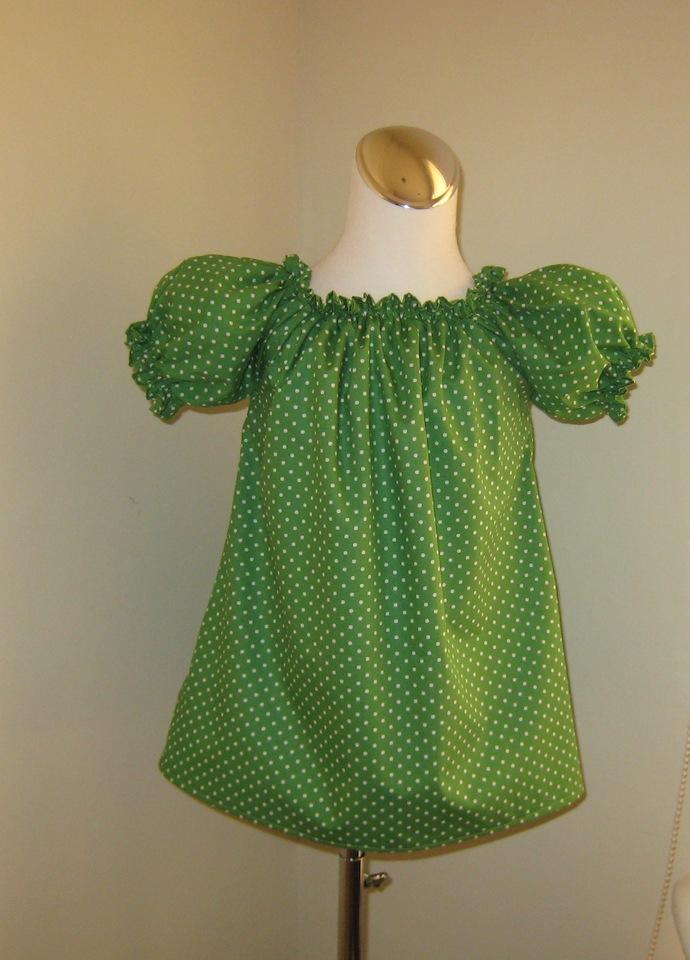 Green Polka Dots Top, Green Top, Green Girl Blouse, Green Ruffle Top, Toddler