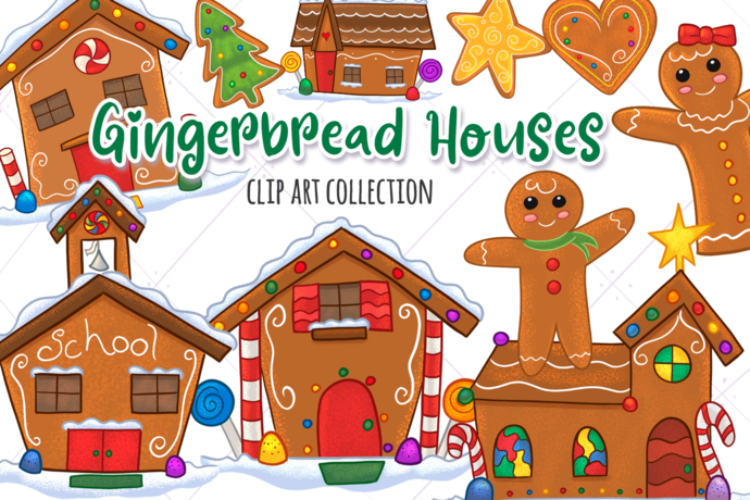 Gingerbread Houses Clip Art Collection