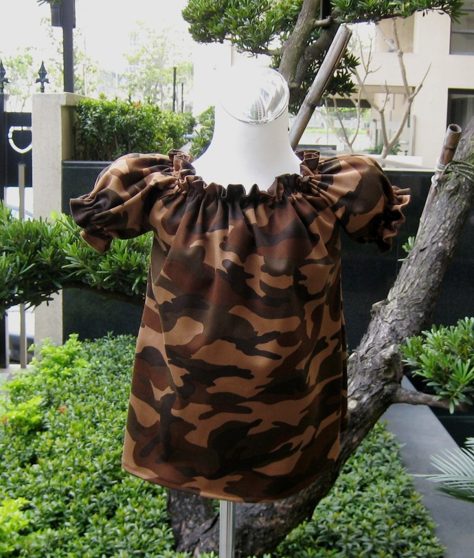 Camouflage Brown Peasant Top Custom Boutique 12M To 7, Girl Blouse, Girl Top,