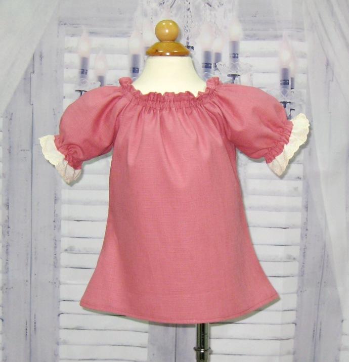 Dusty Rose Peasant Top 12M To 7, Peasant Top, Girls Peasant Top, Pink Blouse,
