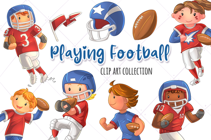 Playing Football Clip Art Collection