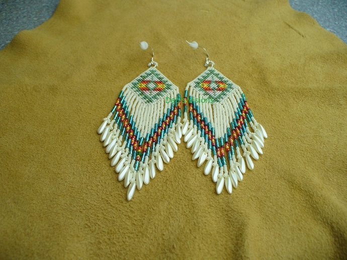 Native American Style Brick Stitched Geometric Earrings in Cream and Picasso Sea