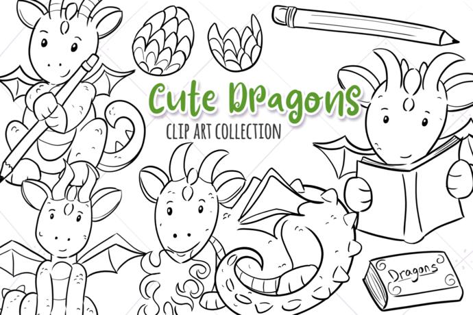 Cute Dragons Digital Stamps
