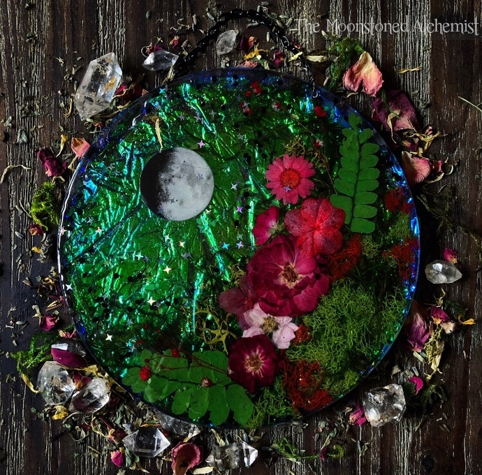 Moon magic wall tile infused with botanicals including roses and ferns