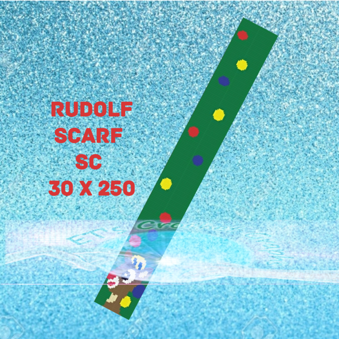Rudolph - Shine so bright SC Scarf - 30x250 includes graph with written color
