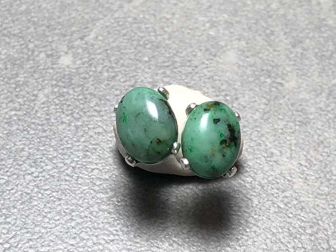 8x6mm African Turquoise Oval Gemstone Post Earrings Prong set with Sterling