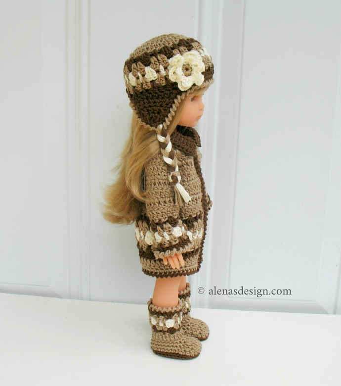 3 PC Dolls Winter Outfit 13 inch Doll Clothes Crochet Patterns Ear Flap Hat