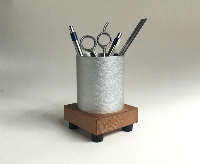 Minimalist Pen Cup, Desk Pencil Holder, Wood Pen Cup, Metal Pencil Cup, Modern