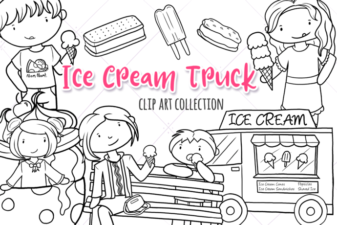 Ice Cream Truck Digital Stamps