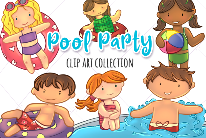 Pool Party Clip Art Collection