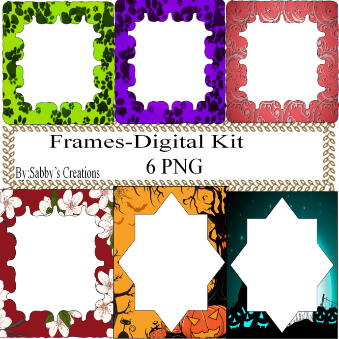 Frames Shapes 1F-Digital Kit-Jewelry Tag-Clipart-Gift Tag-Holiday-Digital