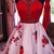 Elegant Floral Red Homecoming Dress, Short Prom Gowns, Beaded Graduation Dress