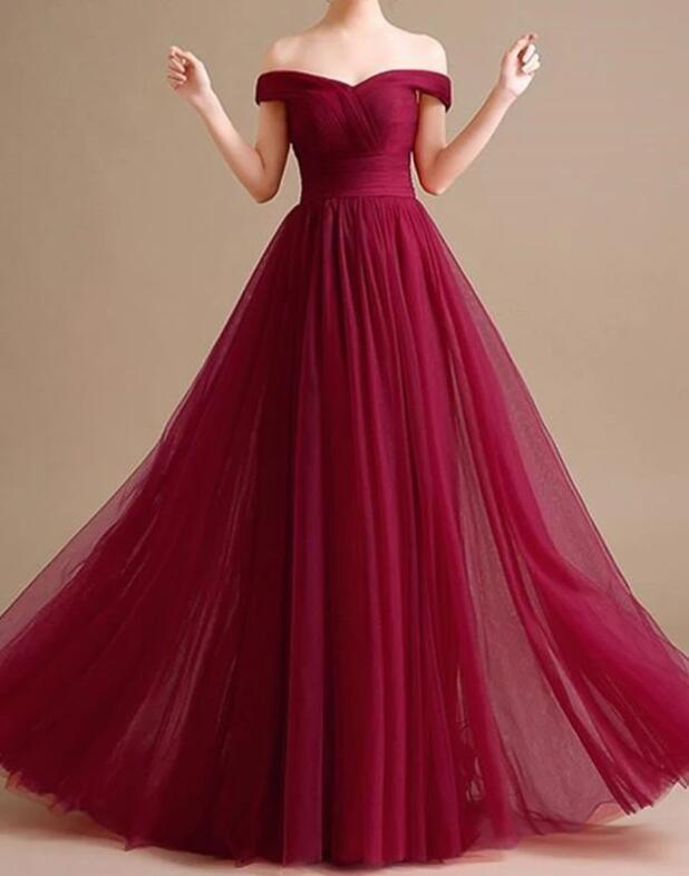 Off the Shoulder Burgundy Tulle Homecoming Dress, Long Prom Dress, Evening