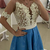 Short Sleeve Blue Lace Homecoming Dress with Pearls, Short Prom Gowns
