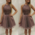 Halter Tulle Beaded Short Homecoming Dress, Grey Homecoming Dresses
