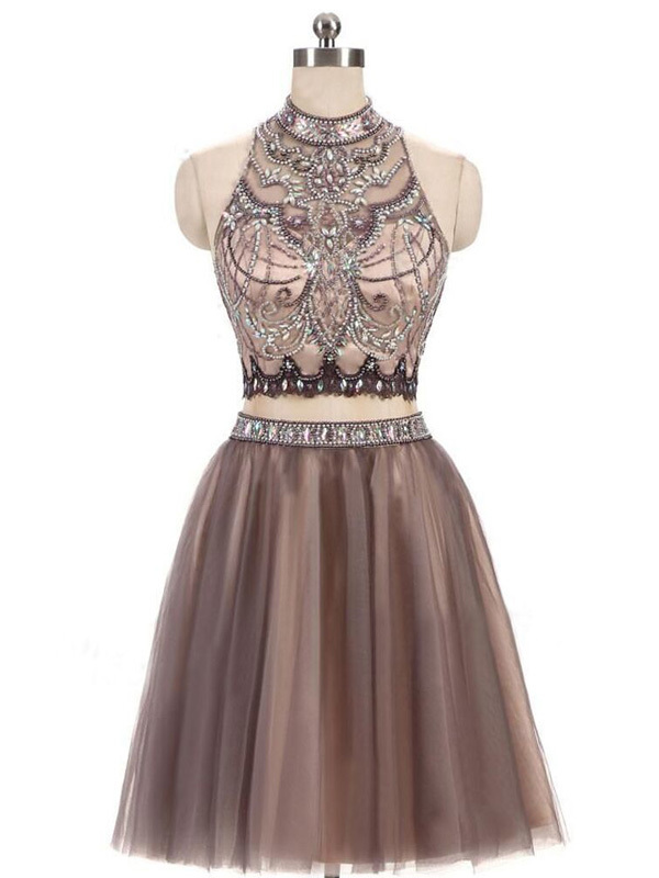 Champagne Tulle Beaded Short Homecoming Dress, Open Back Two Piece Prom Dress
