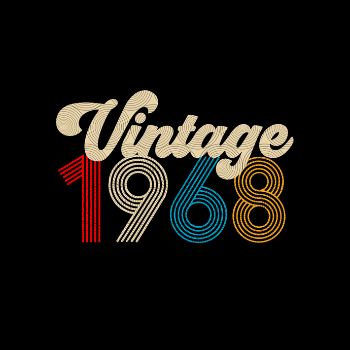 Vintage 1968, Retro 1968, 51 birthday cricut, 51 Years Old svg, vintage