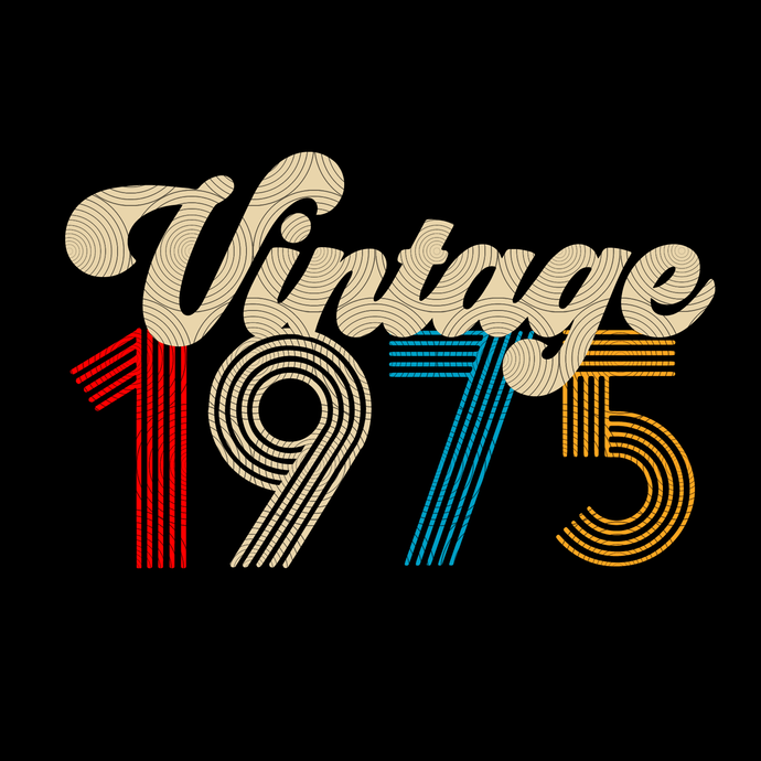 Vintage 1975, Retro 1975, 44 birthday cricut, 44 Years Old svg, vintage