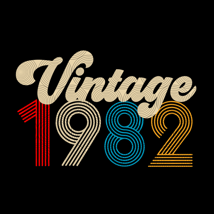 Vintage 1982, Retro 1982, 37 birthday cricut, 37 Years Old svg, vintage