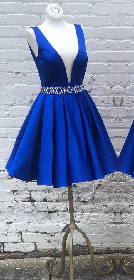 Royal Blue Satin Short Homecoming Dress, Deep V neck Prom Dresses
