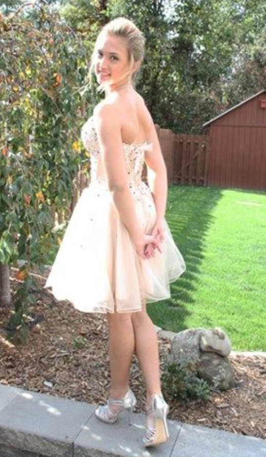 Strapless Tulle Beaded Homecoming Dress, Short Prom Gowns