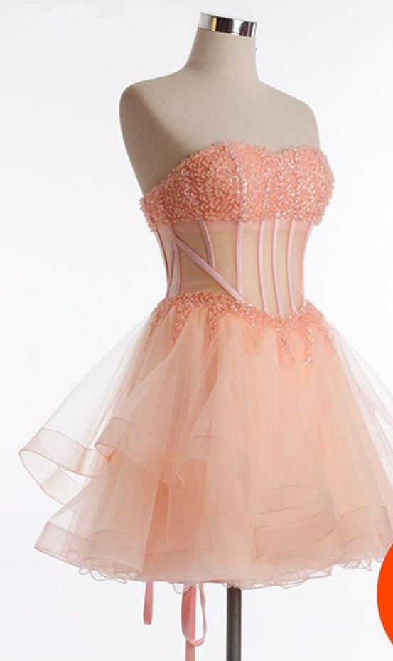 Princess Tulle Strapless Pink Homecoming Dress, Cute Prom Gowns, Short Party