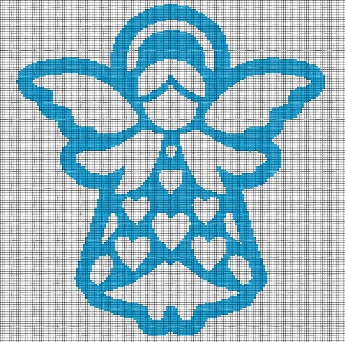 ELECTRIC BLUE ANGEL CROCHET AFGHAN PATTERN GRAPH