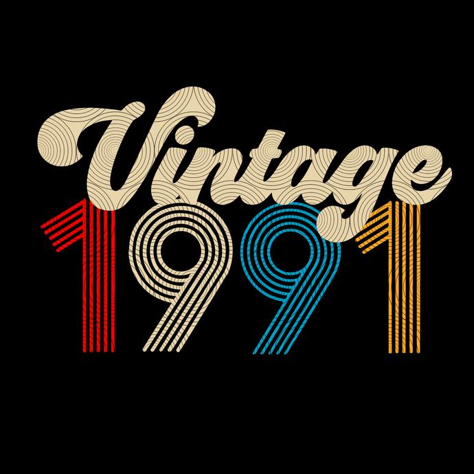 Vintage 1991, Retro 1991, 28 birthday cricut, 28 Years Old svg, vintage