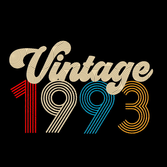 Vintage 1993, Retro 1993, 26 birthday cricut, 26 Years Old svg, vintage