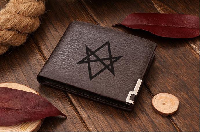 Aquarian Star Unicursal Hexagram Leather Wallet