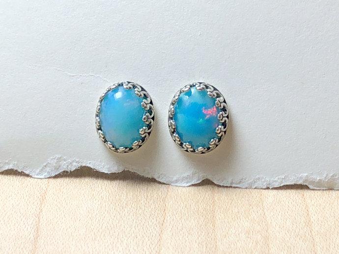 7x9mm Oval Ethiopian Sky Blue Opal Gemstone Post Earrings Bezel set with