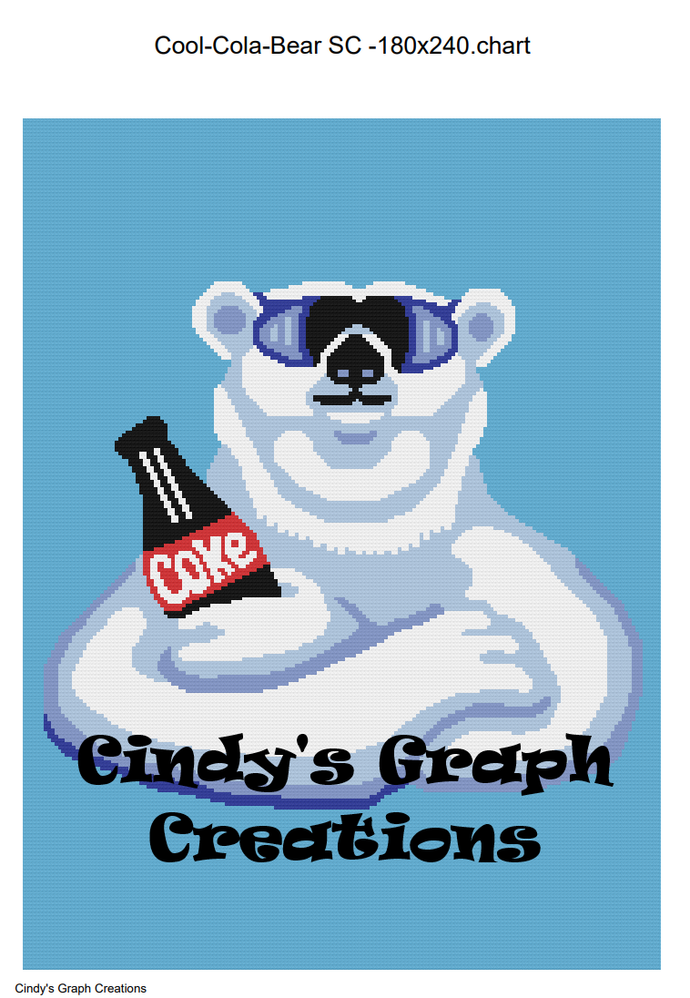 Cool Cola Bear Throw - SC 180x240 includes graph with written color chart