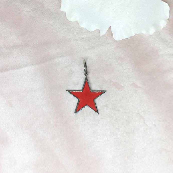 Enamelled & Oxidised Sterling Silver Star Pendant